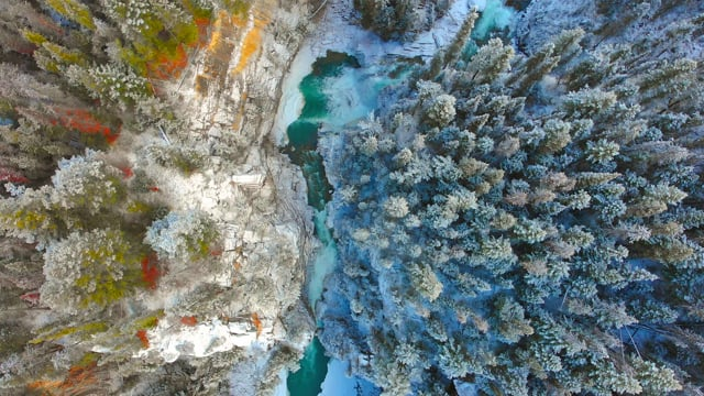 Bird's Eye View of Canada, Wintertime - Aerial Relax Video