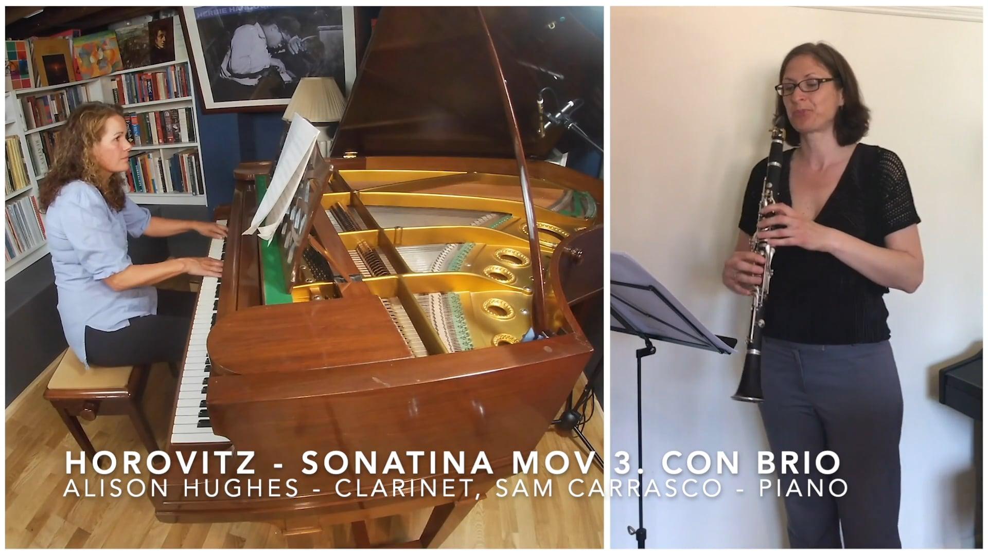 Joseph Horovitz - Sonatina for Clarinet & Piano, Mov 3 Con brio - Alison Hughes & Samantha Carrasco