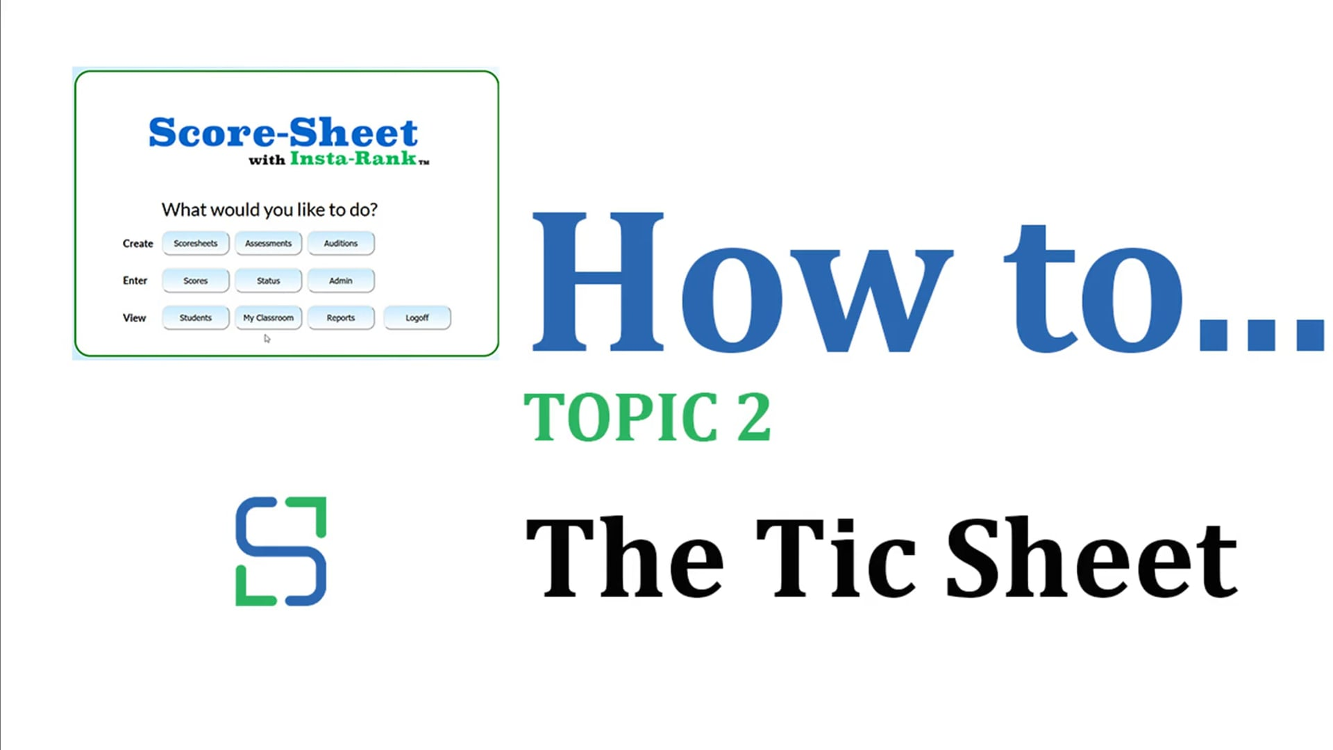 11 - THE TIC SHEET