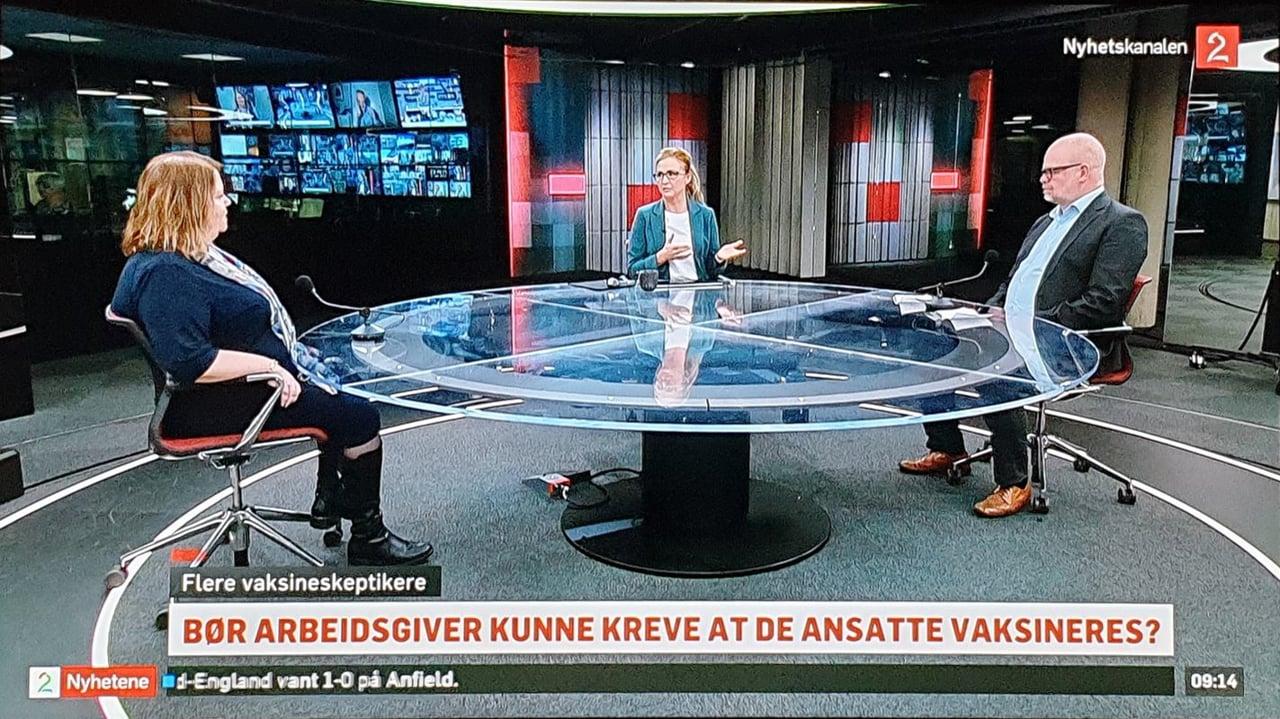 TV2 Nyhetskanalen: Bør arbeidsgivere reve at de ansatte vaksineres?