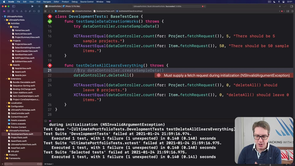 Testing development data