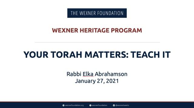 Your Torah Matters: Teach It