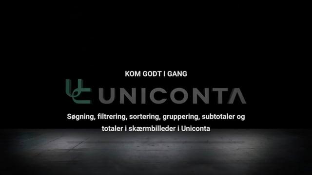 Søgning, filtrering, sortering, gruppering, subtotaler og totaler i skærmbilleder i Uniconta