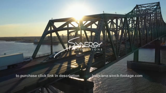 2529 Epic view Baton Rouge bridge on Mississippi River aerial