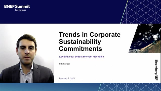 """Watch """"<h3>BNEF Talk: Trends in Corporate Sustainability Commitments by Kyle Harrison, Senior Associate, Corporate Sustainability, BloombergNEF</h3>"""""""