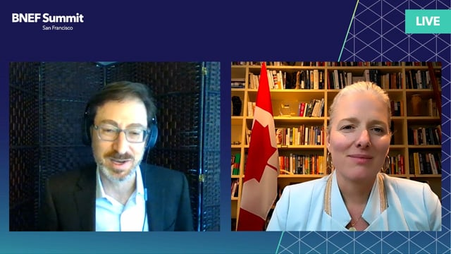 """Watch """"<h3>Catherine McKenna, Minister of Infrastructure and Communities, Canada interviewed by Ethan Zindler, Head of Americas, BloombergNEF</h3>"""""""