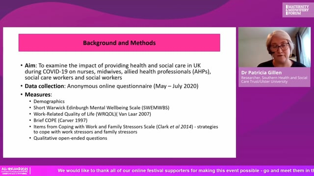 2a. Dr Patricia Gillen - Analysis of health and social care workers' quality of working life and coping during the Covid-19 pand