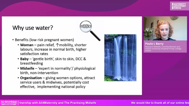 Paula Barry - Water immersion for labour and birth compared with standard care in an Irish maternity setting