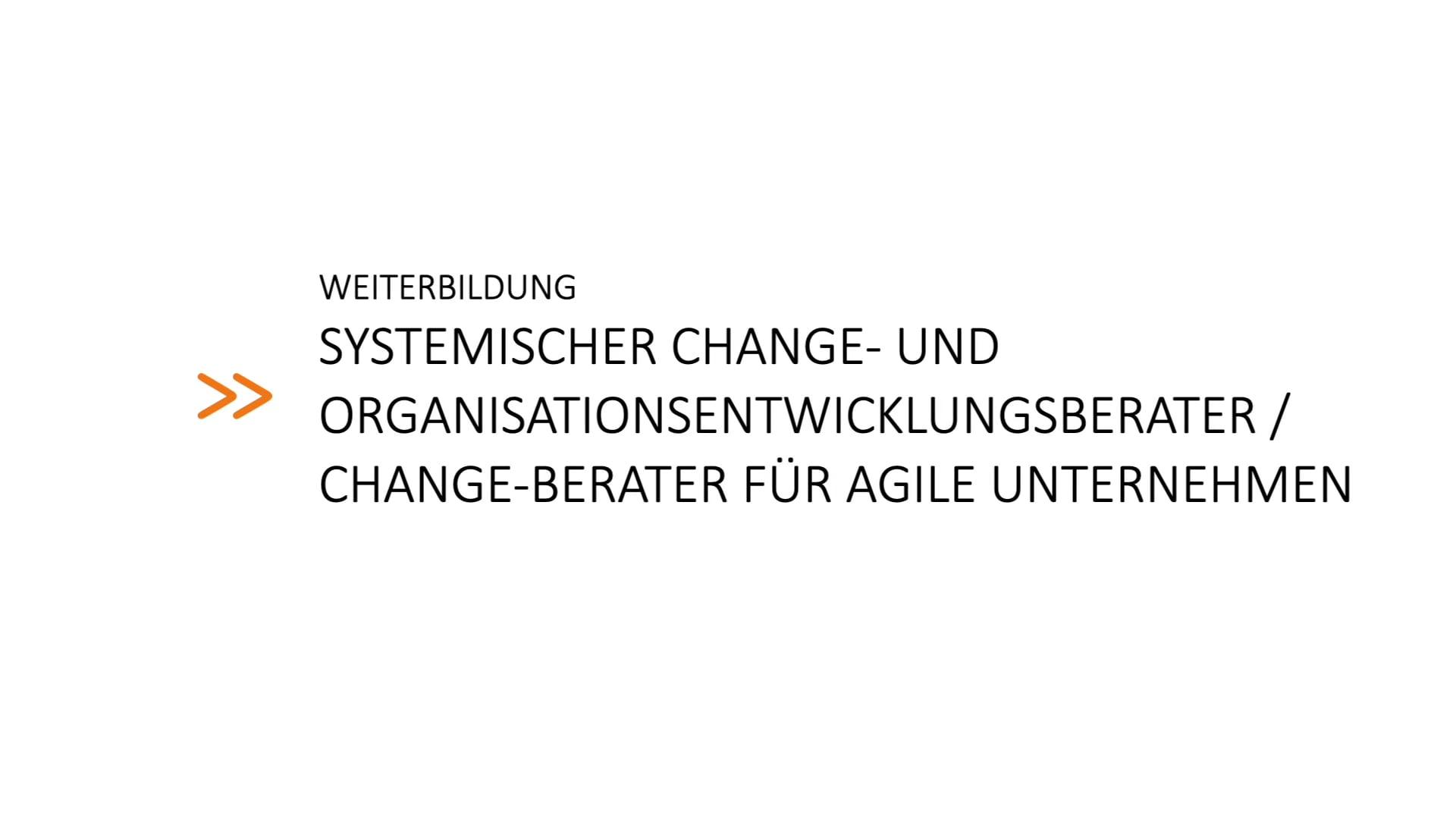 Weiterbildung zum »Systemischen Change-Berater«