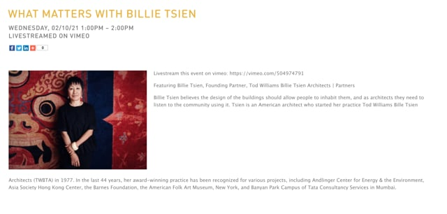 Billie Tsien 2.10.21: Arch Lecture - What Matters with Billie Tsien