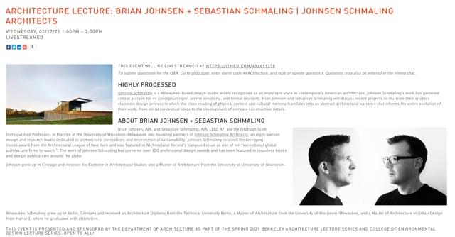 CED/Architecture Lecture: Brian Johnsen + Sebastian Schmaling