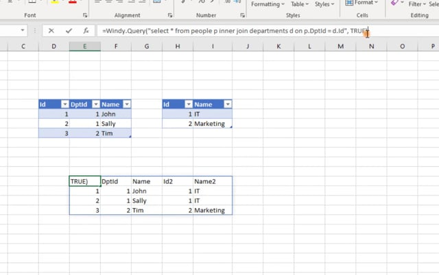 SQL Query function for Excel