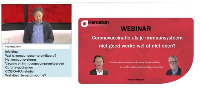 Webinar: Coronavaccinatie als je immuunsysteem niet goed werkt: wel of niet doen?