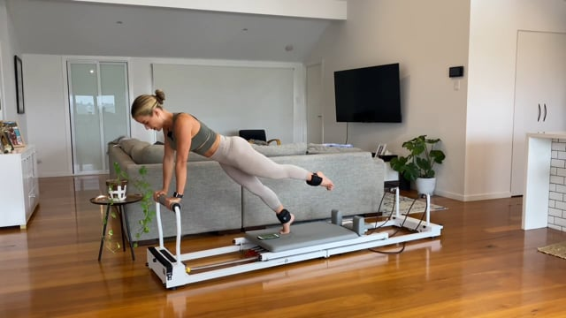 15min full body reformer work with ankle weights