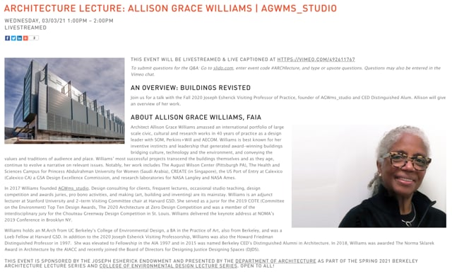 CED/Architecture Lecture: Allison Grace Williams