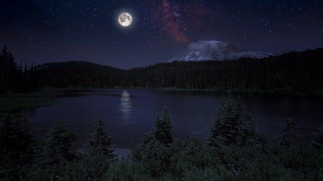Magical Night at Reflection Lake - Nature Relax Video 4K HDR