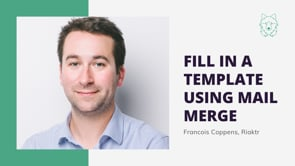 Fill in a template using mail merge