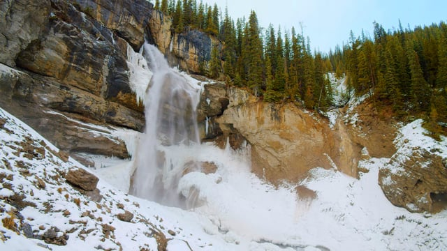 Fascinating Beauty of Panther Falls. Canada. Wintertime - Nature Relax Video in 4K HDR