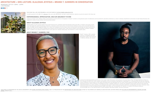 CED/Architecture/GMS Lecture: Olalekan Jeyifous + Brandi Summers
