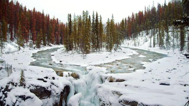 Winter Beauty of Sunwapta Falls - 4K Nature Relax Video HDR