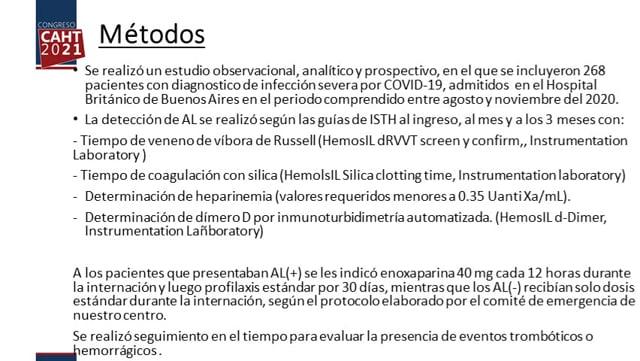 CO4 PREVALENCIA DE ANTICOAGULANTE LÚPICO EN PACIENTES CON NEUMONÍA POR COVID19 - Dra Sofía Rivarola