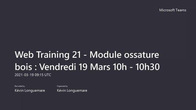Web Training 21 - Module ossature bois