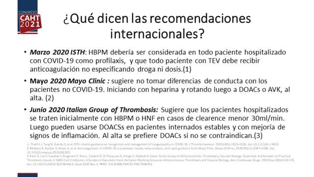 DOACs en el tratamiento de tromboembolismo venoso asociado a SARS-CoV-2 - Dra Cecilia Ferrero