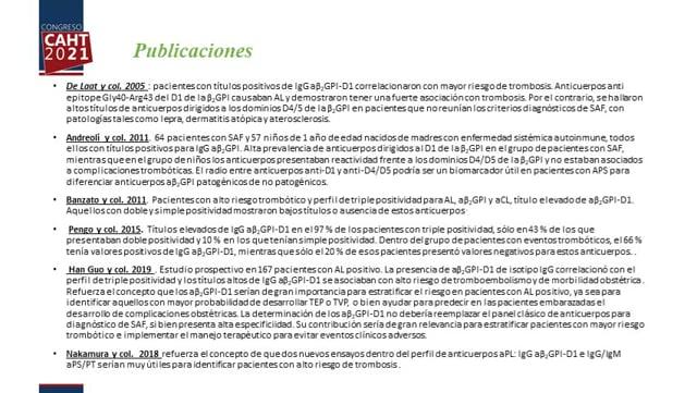 Evaluación crítica 2020 de los ensayos aPS/PT y aBe-ta2GPI-Dominio 1 - Dra Laura Fornasiero