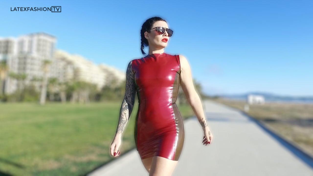 Rhi-Vamp'd Walking in Latex Dress | LatexFashionTV