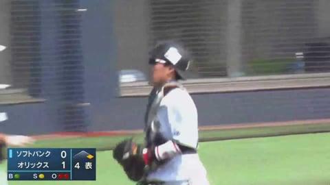 【ファーム】バファローズ・稲富 2塁へドンピシャな送球で盗塁阻止!! 2021/4/8 B-H(ファーム)
