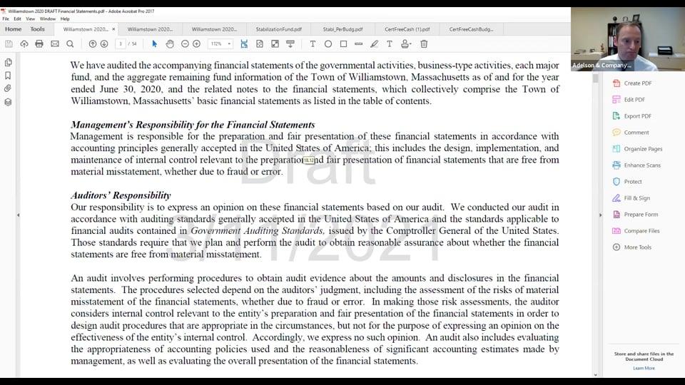 Finance Committee virtual Meeting – 4.7.21