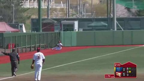 【ファーム】イーグルス・江川 レフト線の打球を好捕!! 2021/4/10 E-DB(ファーム)