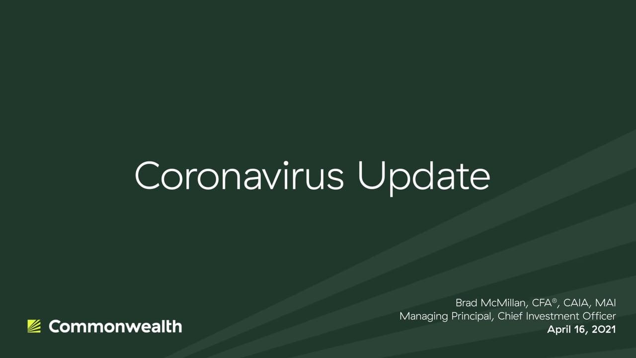 Coronavirus Update from Commonwealth CIO Brad McMillan, April 16, 2021