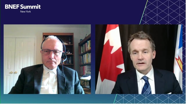 """Watch """"<h3>Seamus O'Regan, Minister of Natural Resources, Canada interviewed by Stephen Munro, Senior Editor, BloombergNEF</h3>"""""""