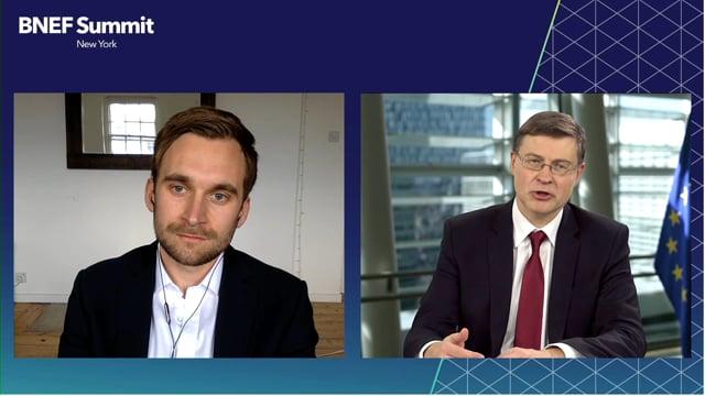 "Watch ""<h3>Valdis Dombrovskis, EVP European Commission, Trade Commissioner, EU interviewed by Antoine Vagneur-Jones, Associate, BloombergNEF</h3>"""
