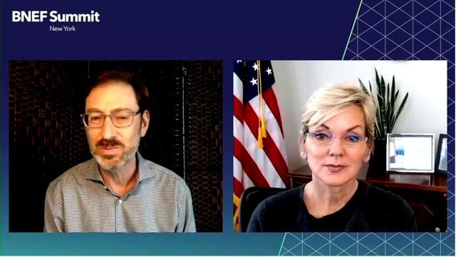 "Watch ""<h3>Jennifer Granholm, Secretary of Energy, United States interviewed by Ethan Zindler, Head of Americas, BloombergNEF</h3>"""