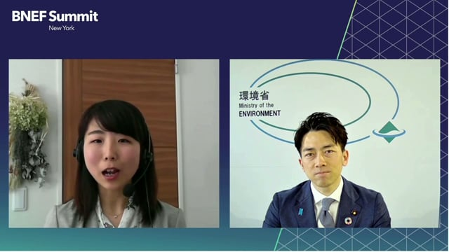 """Watch """"<h3 class=""""agenda__session__title"""">Shinjiro Koizumi, Minister of Environment, Minister in Charge of Climate Change, Japan interviewed by Miho Kurosaki, Head of Japan and Korea Research, BloombergNEF</h3>"""""""