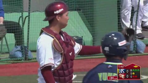 【ファーム】イーグルス・田中貴が見事な送球で盗塁を阻止する!! 2021/4/24 E-S(ファーム)
