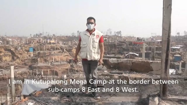 HEKS responds immediately to the big fire in the Rohingya Camp 8E