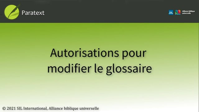Autorisations pour modifier le glossaire (9.0 1A.4b)
