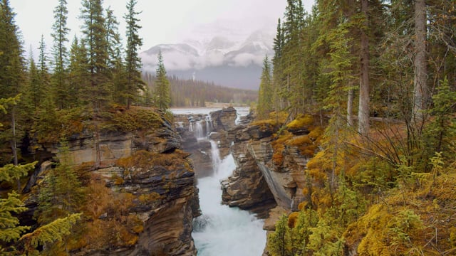 Calming Sounds of Athabasca Falls, Canada. Wintertime.