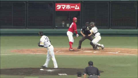 【ファーム】ホークス・渡邉陸が素早い反応と強肩で盗塁阻止!! 2021/5/4 H-C(ファーム)