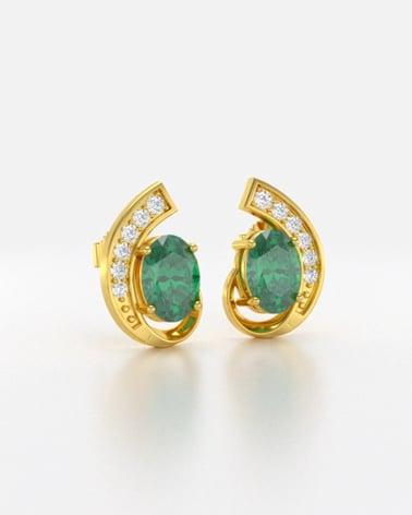 Vídeo: Pendientes  de Oro 14K Esmeralda y Diamantes