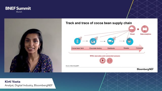 "Watch ""<h3>BNEF Talk: Track and Trace: Digitalizing Supply Chains byKirti Vasta,Associate, Digital Industry, BloombergNEF</h3>"""