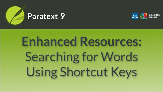 Enhanced Resources - Searching for Words Using a Shortcut Key (9.0 0.5.5)