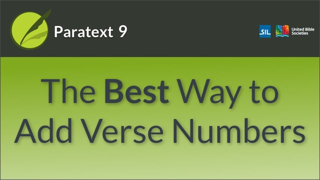 The Best Way to Add Verse numbers (9.0 1.2.4)