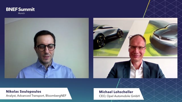 """Watch """"<h3>Michael Lohscheller, CEO, Opel Automobile GmbH interviewed by Nikolas Soulopoulos, Analyst, Advanced Transport, BloombergNEF</h3>"""""""