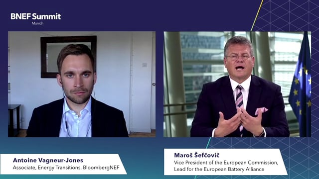 "Watch ""<h3>Maroš Šefčovič, Vice President, European Commission, Lead for the European Battery Alliance interviewed by Antoine Vagneur-Jones, Associate, Energy Transitions, BloombergNEF</h3>"""