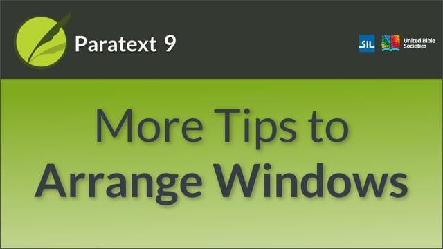 Further Tips on Arranging Windows (9.0 0.2.3d)