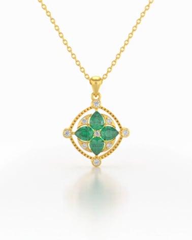 Video: Colgante Pendente in Oro 14K Smeraldo Diamanti Catena Oro inclusa